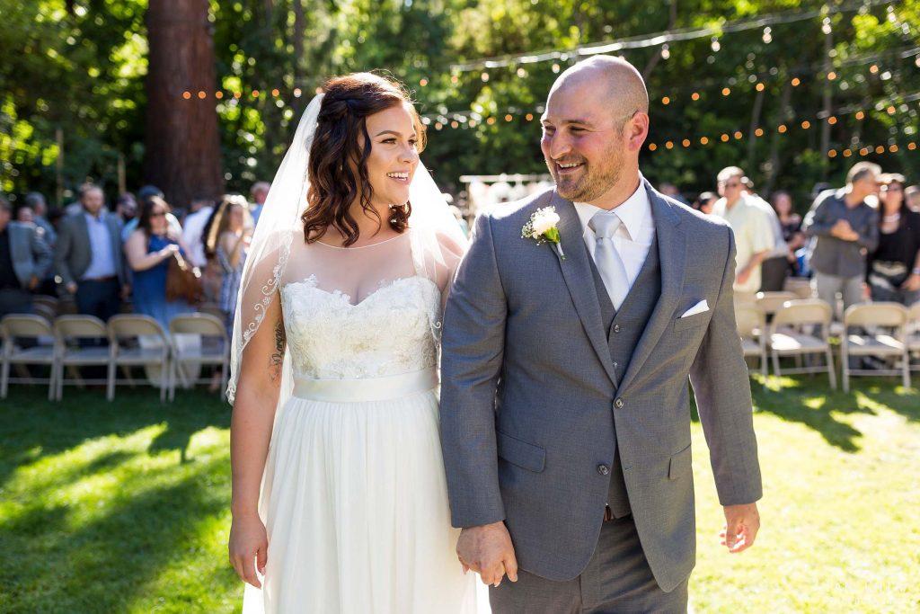 walking bride groom