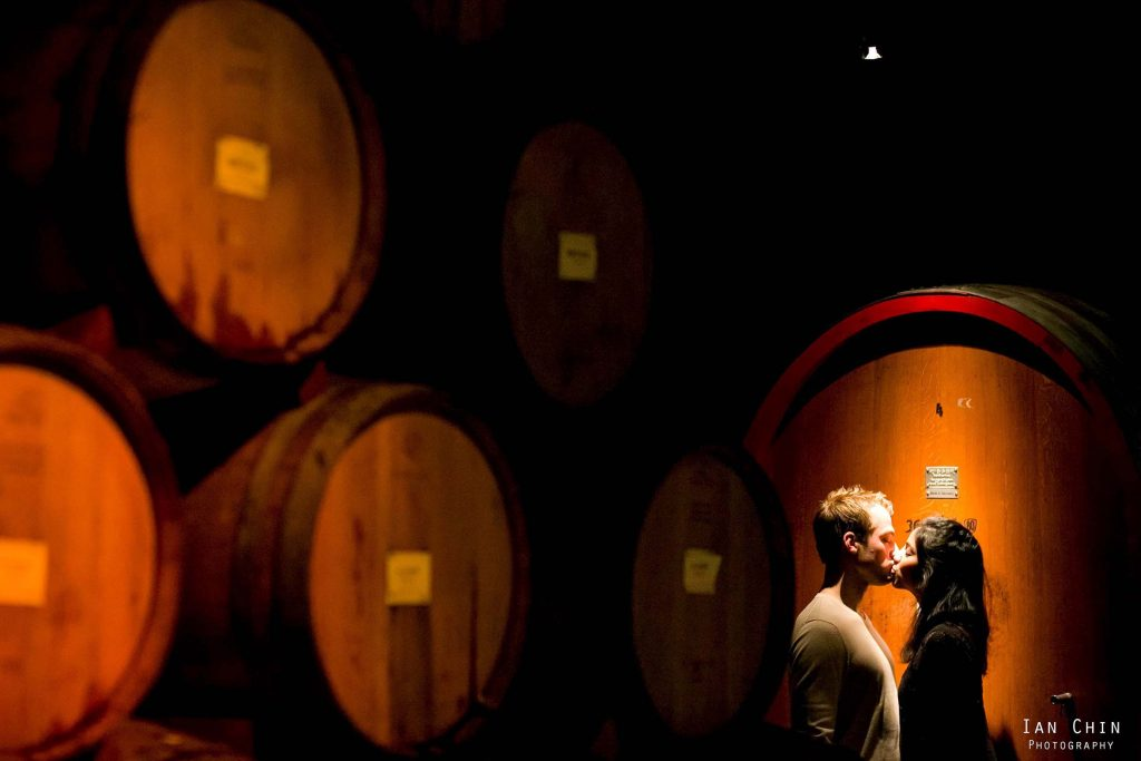 v sattui wedding barrel room kiss