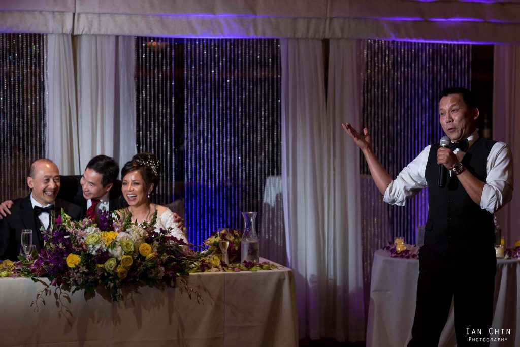 fairview crystal springs wedding bride and groom laughing as a guest gives his speech