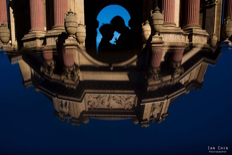 Palace of fine arts wedding photography of grooms head to head as a silhouette with the dome reflected taken by San Francisco wedding photographer Ian Chin Photography