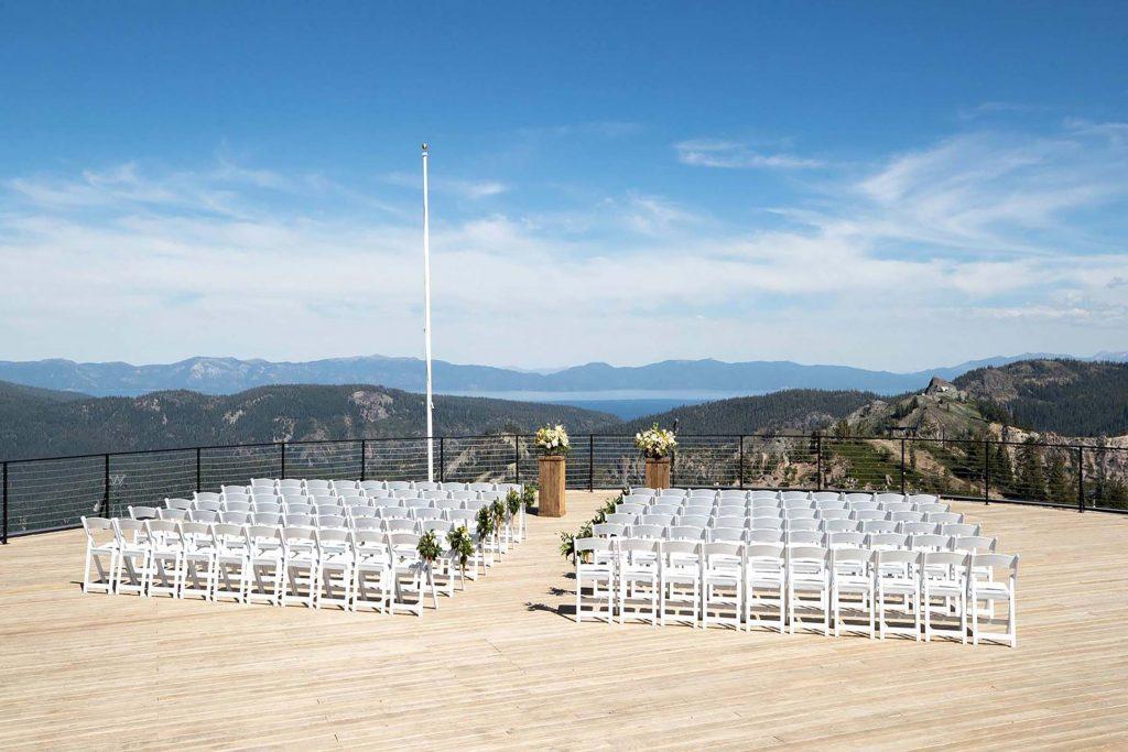 high camp squaw valley wedding setup
