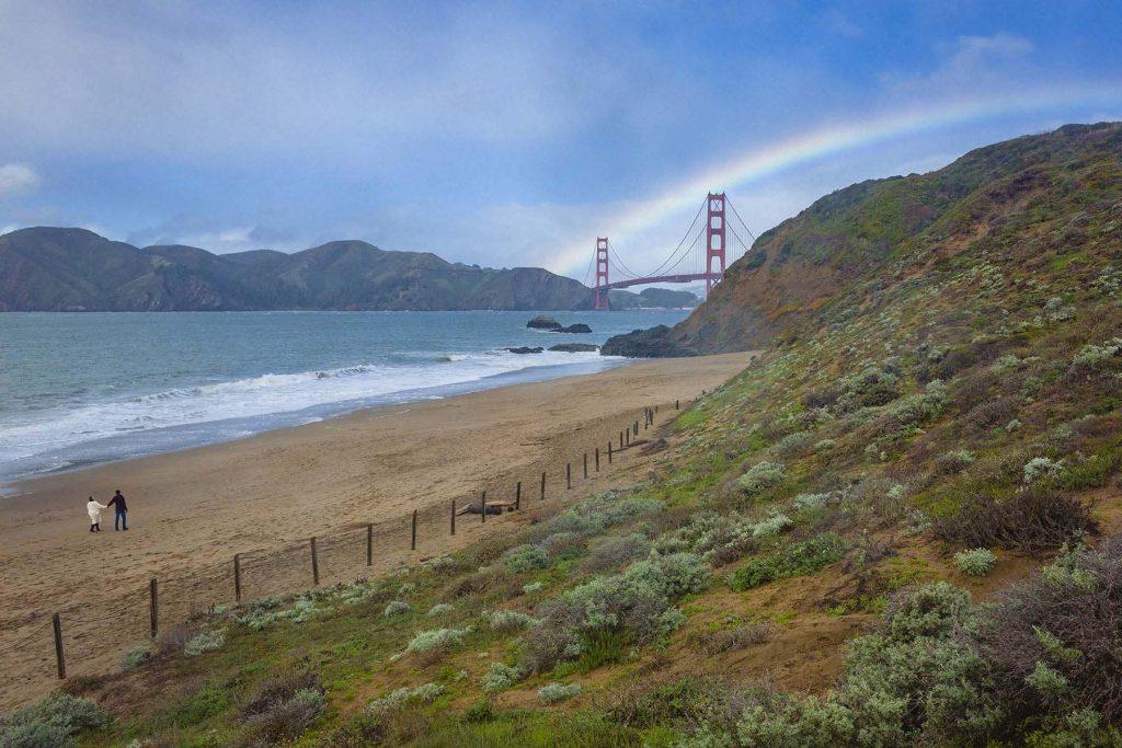 Lands End + Baker Beach Rainy Rainbow Engagement Shoot Photos - 29 WPS collage web